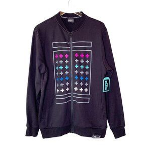 Pink Dolphin Zip Up Black Graphic Jacket Sz L NWT